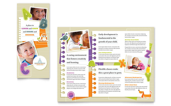 Kindergarten Tri Fold Brochure Design