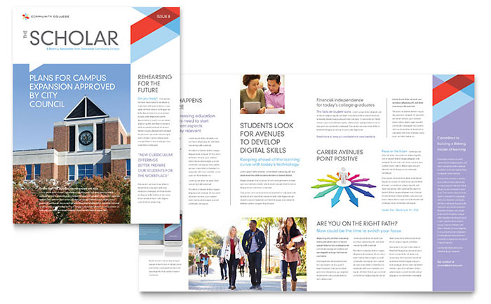 Community College - Newsletter Design Example