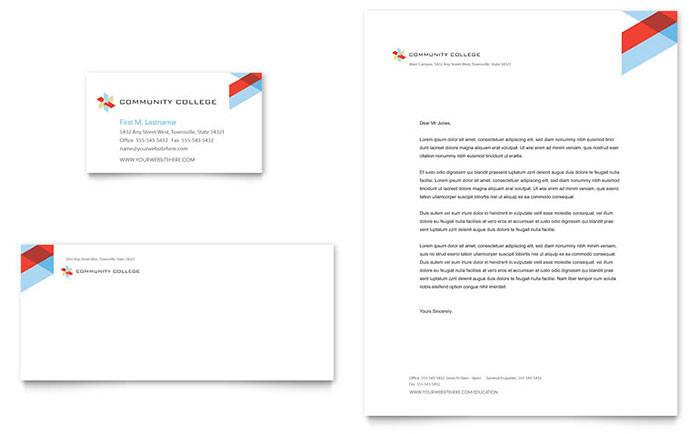 Community College - Letterhead & Business Card Design Example