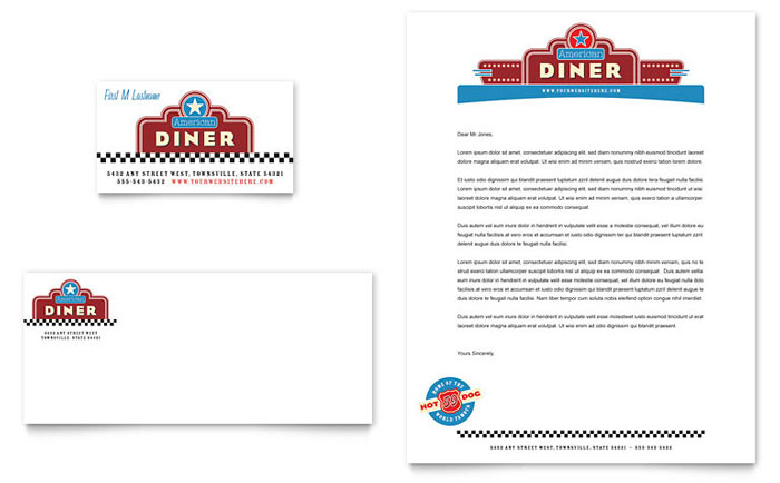 American Diner Restaurant Business Card Amp Letterhead Template Design