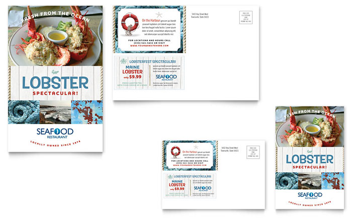 Seafood Restaurant Postcard Design