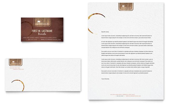 Coffee Shop Business Card Amp Letterhead Template Design