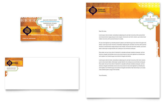 Business Card Sample - Indian Restaurant