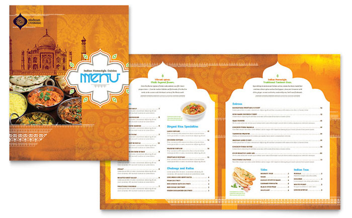 indian restaurant menu flyer ads and postcard ideas stocklayouts