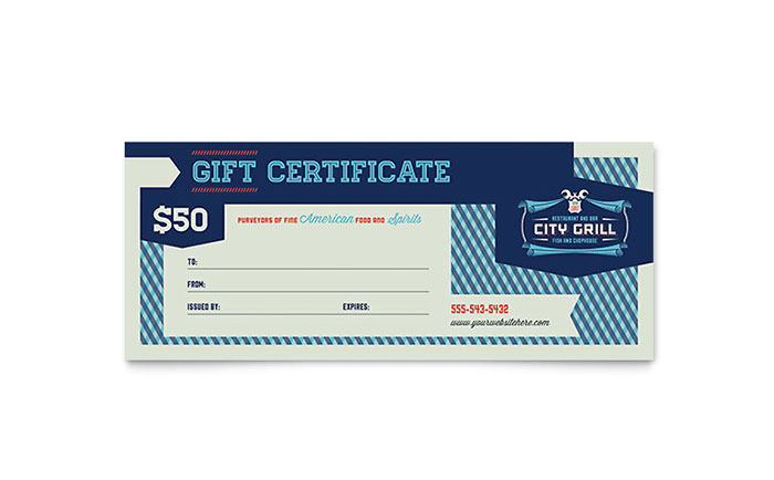Fine Dining Restaurant Gift Certificate Template Design