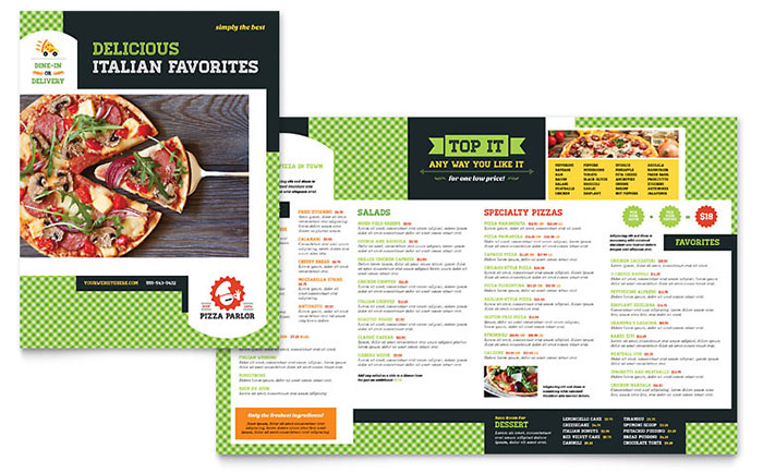 italian pizza parlor menu design idea - Menu Design Ideas