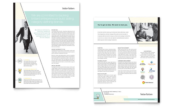 Venture Capital Firm - Datasheet Design Example