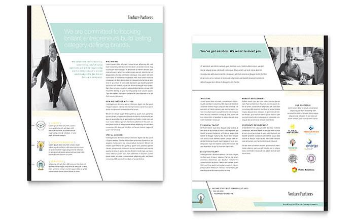 Venture Capital Firm Datasheet Template Design