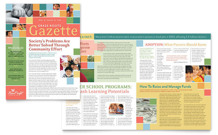 Children's Non Profit Newsletter Design Example