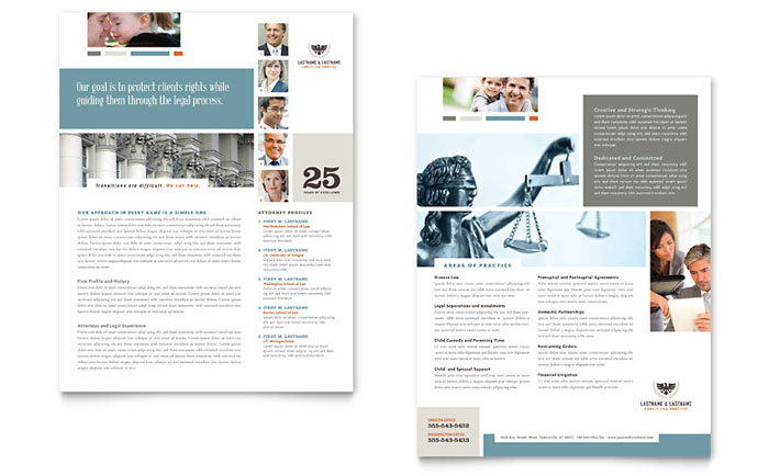 Family Law Attorneys Datasheet Design