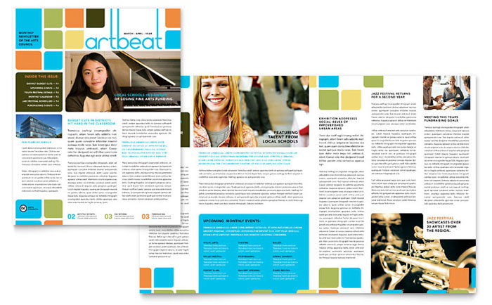 arts education newsletter design