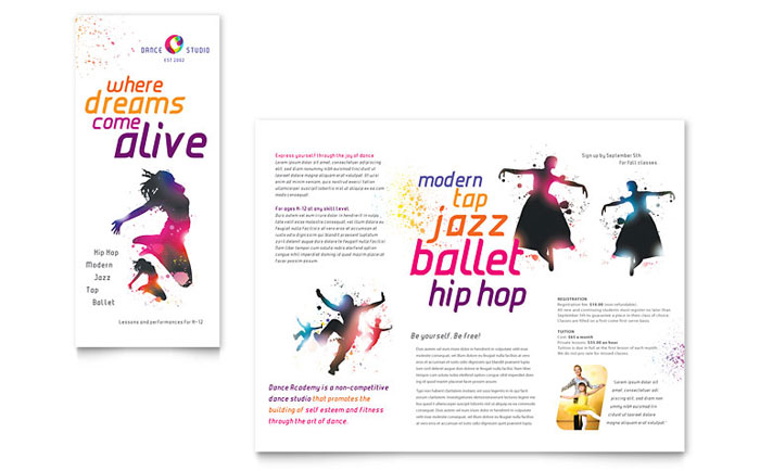 Dance Studio Tri Fold Brochure Design