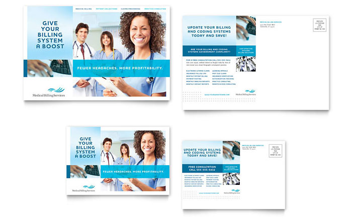 Medical Billing & Coding Postcard Design