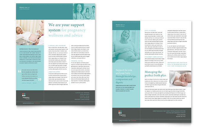 Pregnancy & Childbirth Clinic Datasheet Design