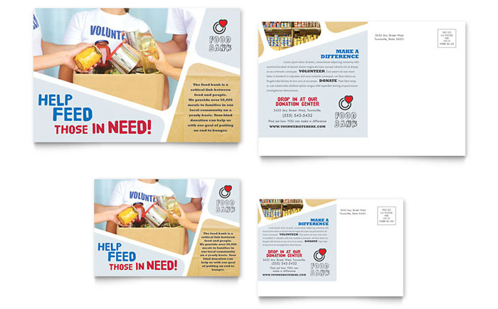 Non Profit Food Bank Direct Mail Postcard Design
