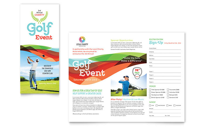 Golf Tournament Registraton Brochure Design Idea