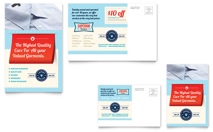 Laundry Services Postcard Design