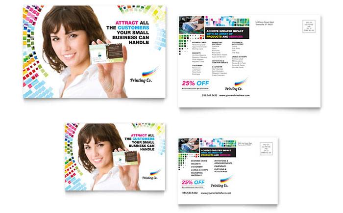 Commercial Printer Direct Mail Postcard Design Example