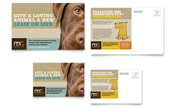 Animal Shelter & Pet Adoption Postcard Design