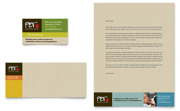 Animal Shelter & Pet Adoption Business Card & Letterhead Design