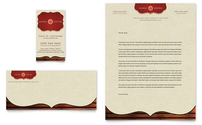 Horse Riding Stables Camp Business Card Letterhead Template Design
