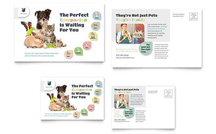 Pet Store Postcard Design