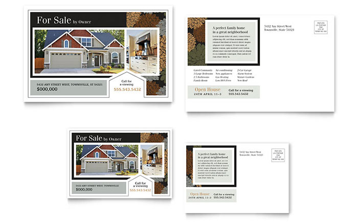Real Estate Marketing Postcards Quick Easy Templates - Open house ad template