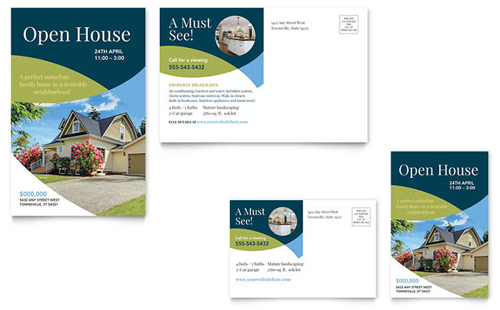 Open House Real Estate Postcard - Sample Template