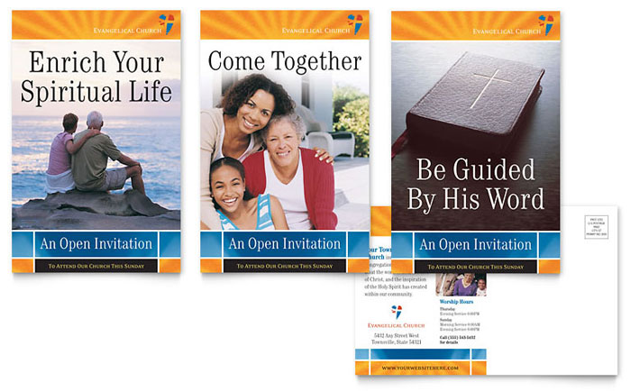 Church Direct Mail Postcard Design Example