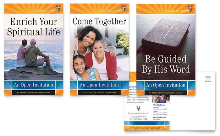 Evangelical Church Postcard Template Design