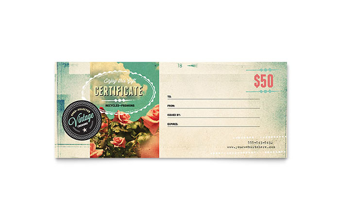 Vintage Clothing Gift Certificate Template Design