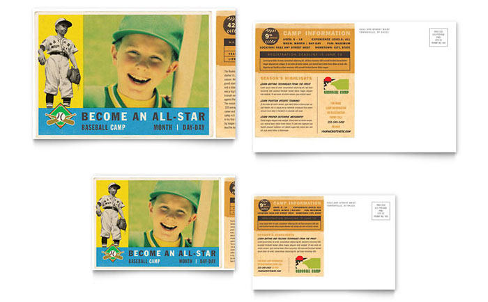Postcard Example - Baseball Sports Camp