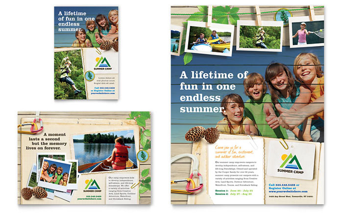 Kids Summer Camp Flyer & Ad Design