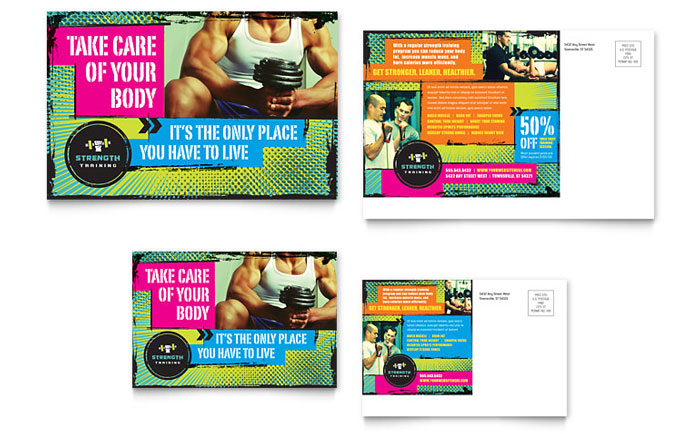 Strength Training Postcard Design