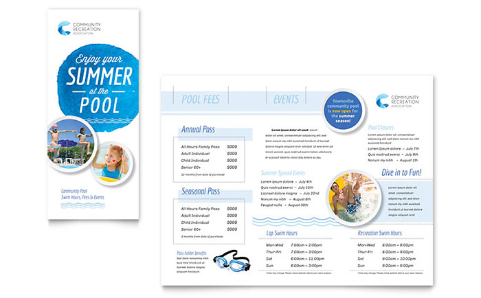 Community Swimming Pool & Recreation Center - Brochure Design