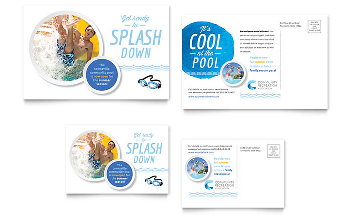 Community Swimming Pool & Recreation Center - Postcard Design
