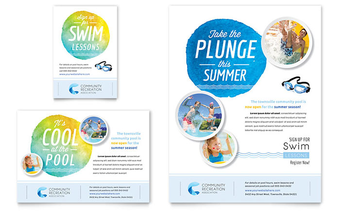 Community Swimming Pool & Recreation Center - Flyer & Ad Design