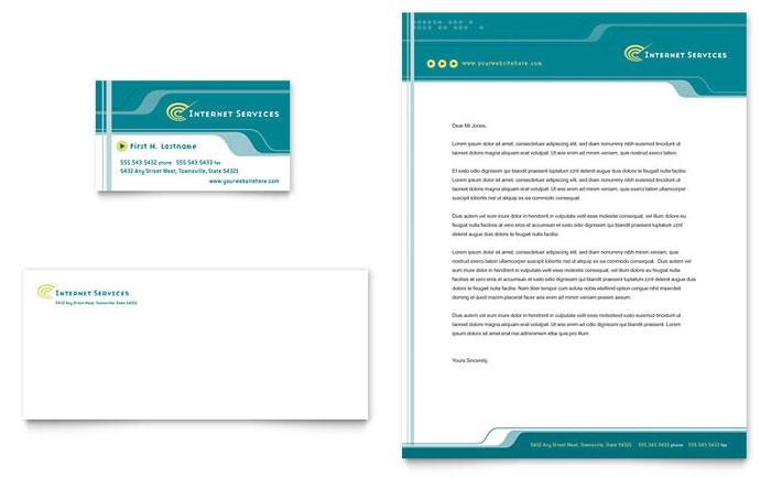 Internet Service Provider Business Card Letterhead Template Design