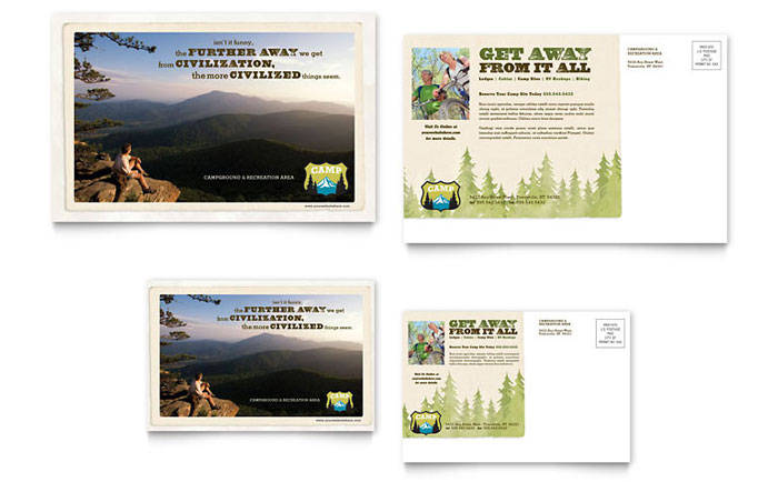 Nature Camping Hiking Postcard Template Design