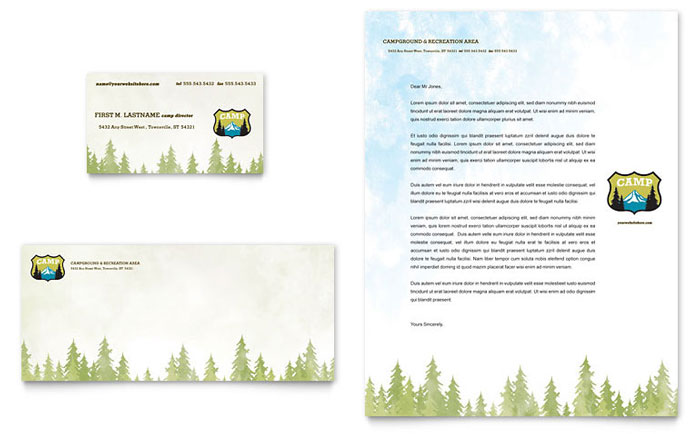 Nature Camping Hiking Business Card Letterhead Template Design