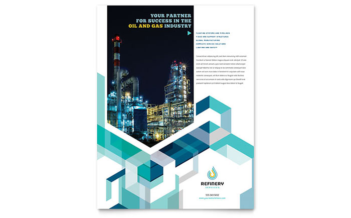 Oil Amp Gas Company Flyer Template Design