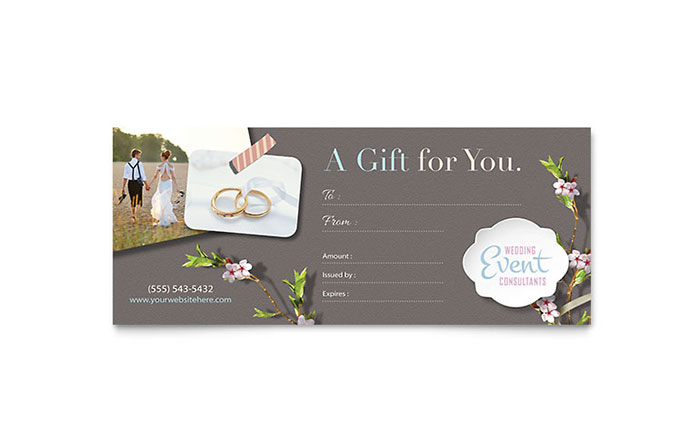 Wedding Planner Gift Certificate Template Design