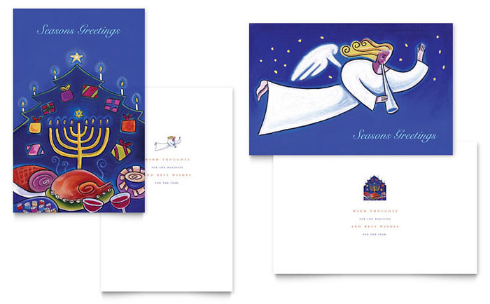 Holiday Seasons Menorah Greeting Card Template Design