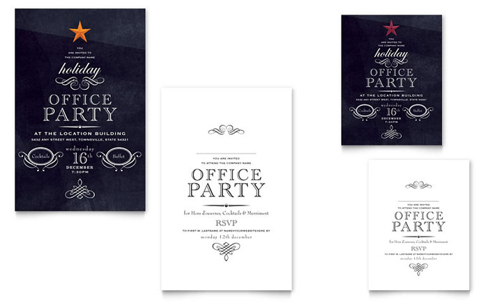 Office Holiday Party Note Card Invitation Template