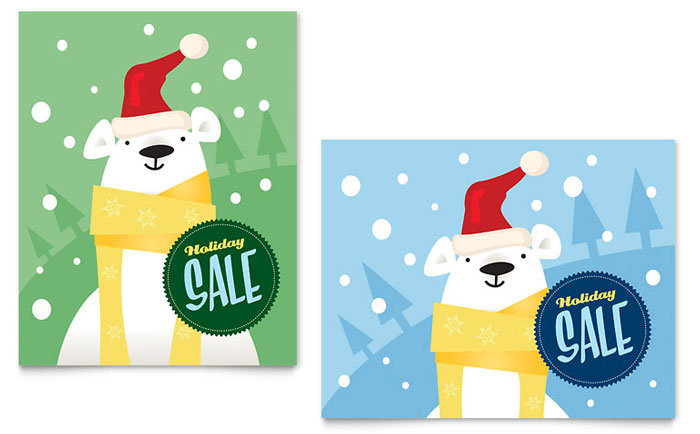 Santa Polar Bear Sale Poster Design
