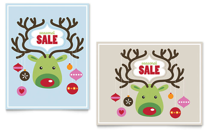 Reindeer Ornaments Poster Design