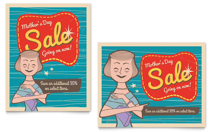 Sale Poster Example - Retro Mother's Day