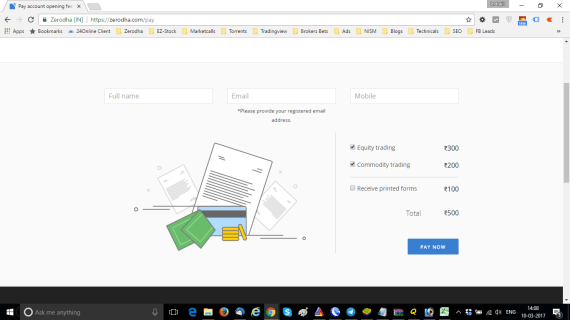 Zerodha Pay Account Opening Fee
