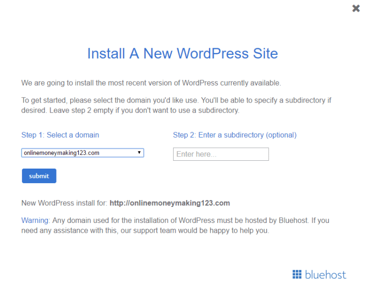 How To Install WordPress In Bluehost