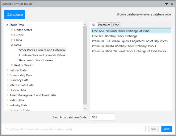 Import Quandl Data In Excel 1